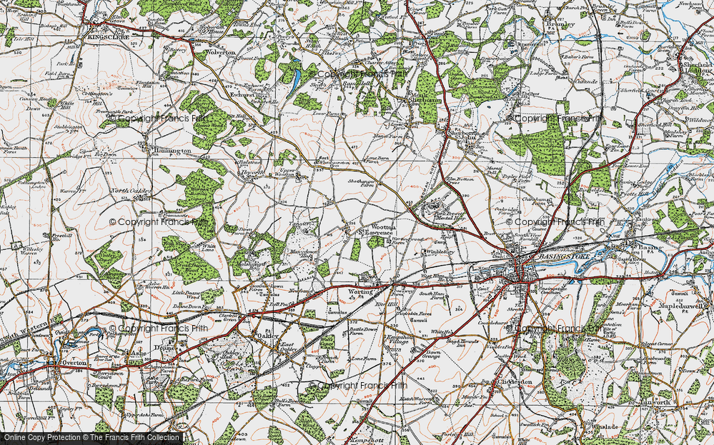 Old Map of Historic Map covering Worting Ho in 1919