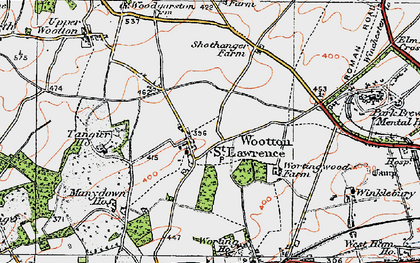 Old map of Wootton St Lawrence in 1919