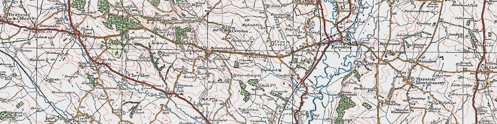 Old map of Alders in 1921