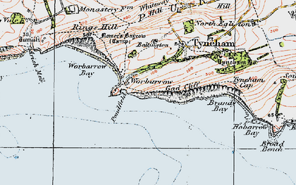Old map of Worbarrow Bay in 1919
