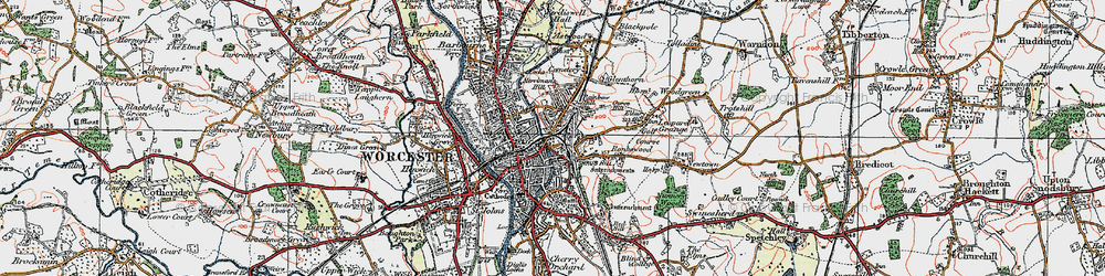 Old map of Worcester in 1920