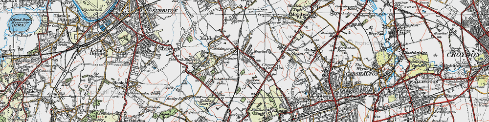 Old map of Worcester Park in 1920