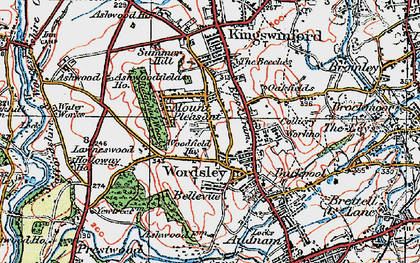 Old map of Wordsley in 1921