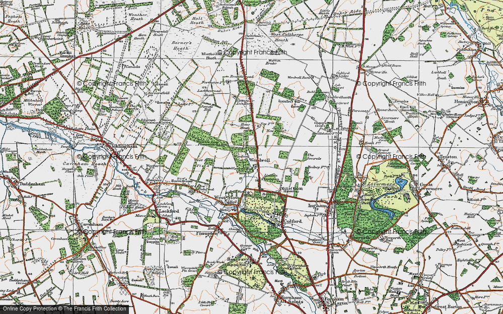 Old Map of Historic Map covering Wordwell Covert in 1920