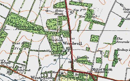 Old map of Wordwell in 1920