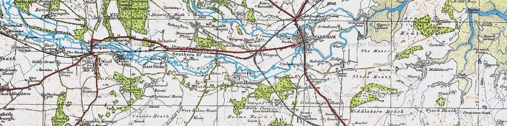 Old map of Worgret in 1919