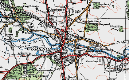 Old map of Worksop in 1923