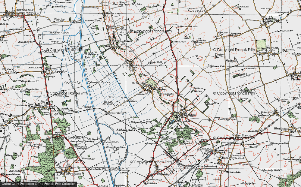 Old Map of Historic Map covering Worlaby Carrs in 1923