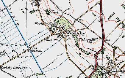 Old map of Worlaby Carrs in 1923