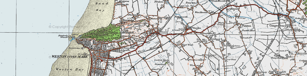 Old map of Worle in 1919