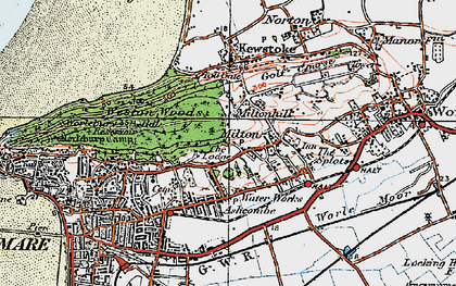 Old map of Worlebury in 1919