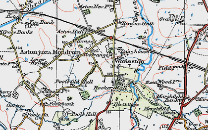 Old map of Worleston in 1923