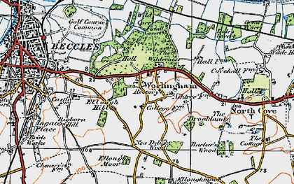 Old map of Worlingham in 1921