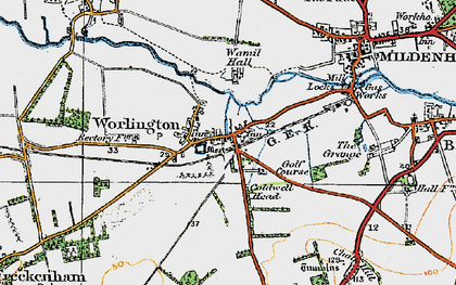 Old map of Worlington in 1920