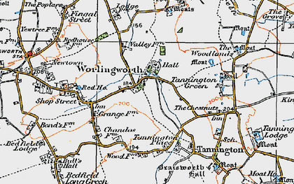 Old map of Worlingworth in 1921