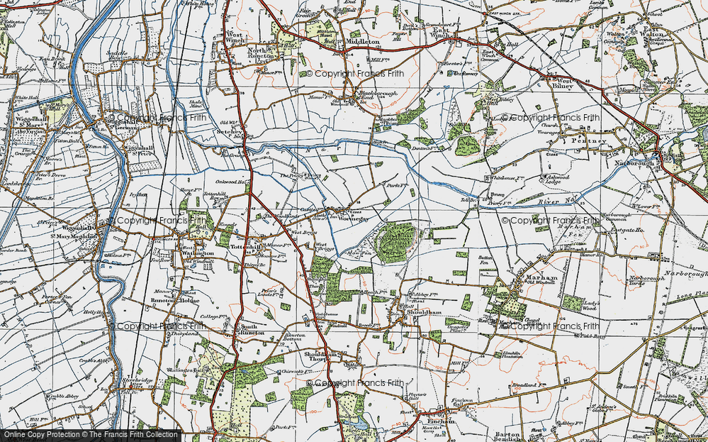 Old Map of Historic Map covering Ling Hills in 1922