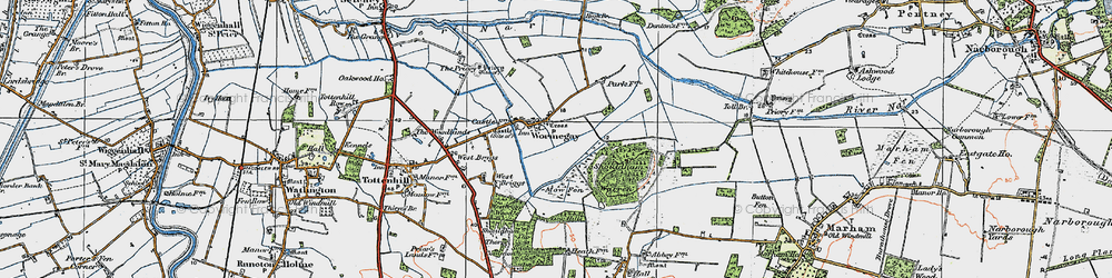 Old map of Wormegay in 1922