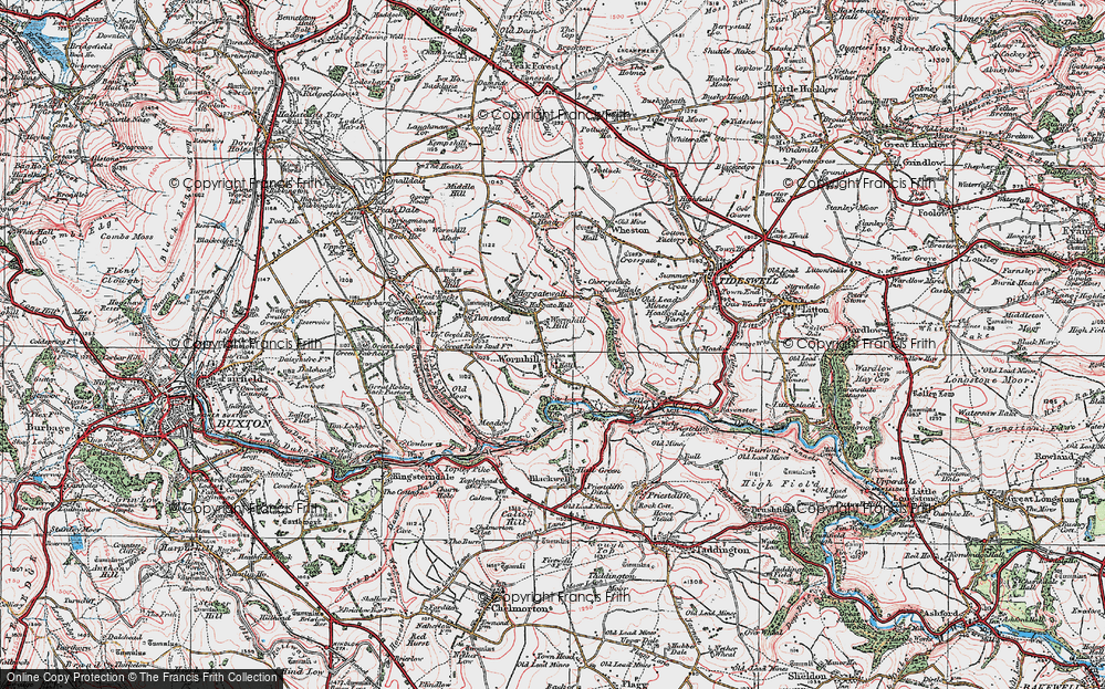 Old Map of Wormhill, 1923 in 1923