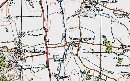 Old map of Wormington in 1919