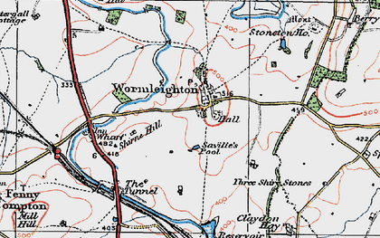 Old map of Wormleighton Village in 1919