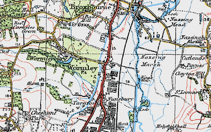 Old map of Wormleybury in 1920