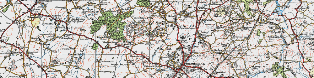 Old map of Worms Ash in 1919