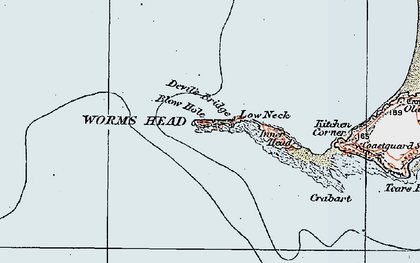 Old map of Worms Head in 1923