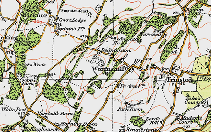 Old map of Wormshill in 1921