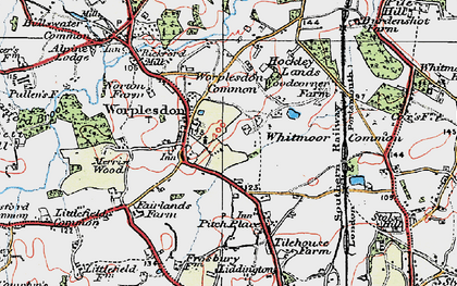Old map of Worplesdon in 1920