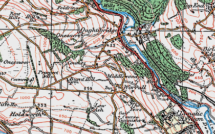 Old map of Worrall in 1923