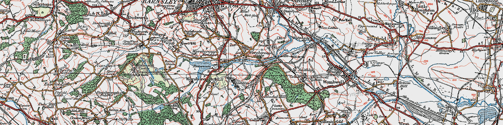 Old map of Worsbrough Dale in 1924