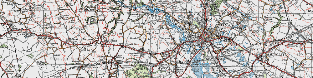 Old map of Worsley Hall in 1924