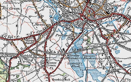 Old map of Worsley Mesnes in 1924