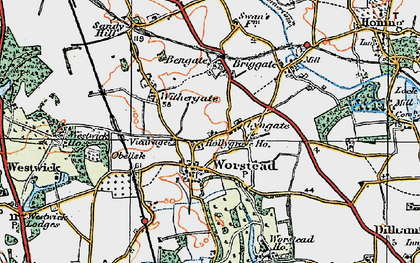 Old map of Worstead in 1922