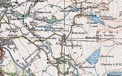 Old map of Worsthorne in 1924