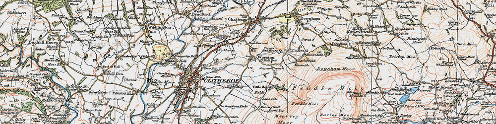 Old map of Worston in 1924