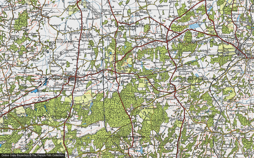 Old Map of Worth, 1920 in 1920