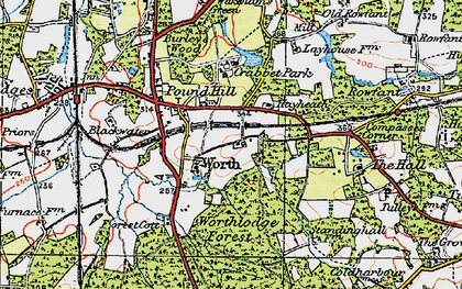 Old map of Worth Hall in 1920