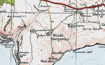 Old map of Worth Matravers in 1919