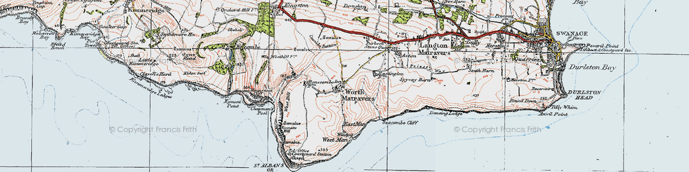 Old map of Winspit in 1919