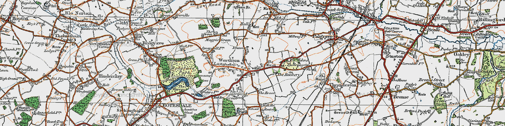 Old map of Wortham in 1920