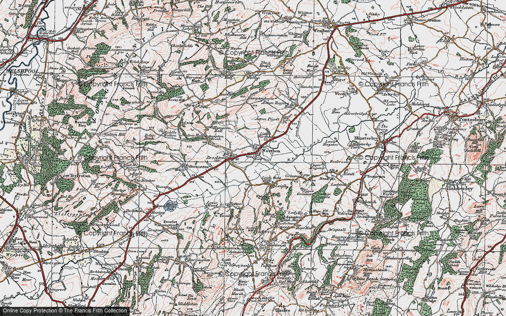 Old Map of Worthen, 1921 in 1921