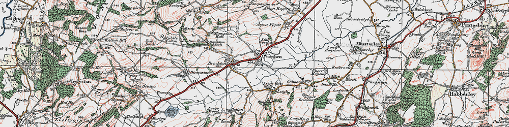 Old map of Worthen in 1921