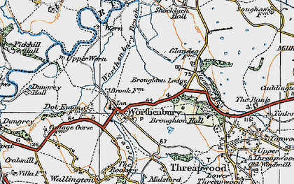Old map of Worthenbury in 1921