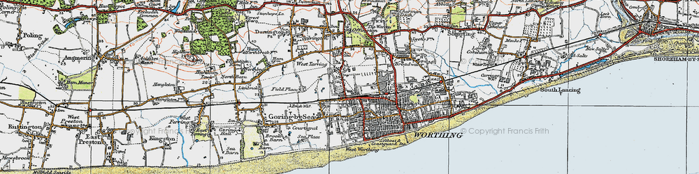 Old map of Worthing in 1920