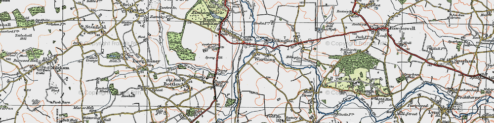 Old map of Worthing in 1921
