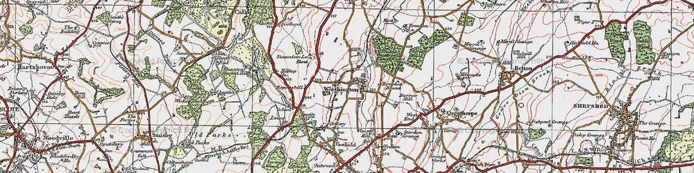 Old map of Worthington in 1921