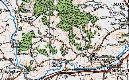 Old map of Treowen in 1919