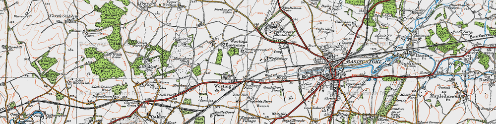 Old map of Worting in 1919