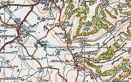 Old map of Wortley in 1919